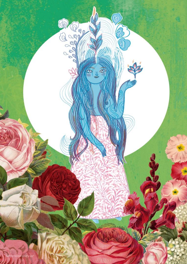 Monica Moreno Art A4 Size Harmony Goddess Illustration