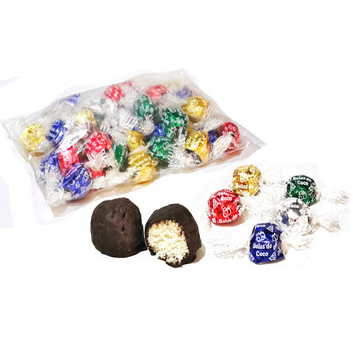 Bombones rellenos de coco con cobertura de chocolate, bolsa de 1 Kg