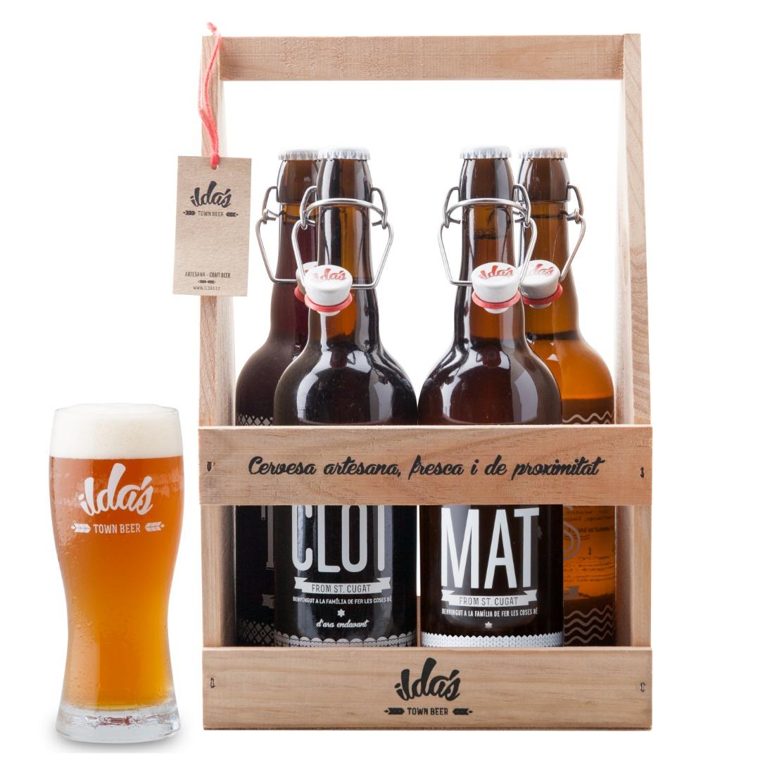 Pack madera selección 4 cervezas (ROS - MAT - CLOT - TORR) de 75cl. cada una + un vaso de pinta (50cl.)