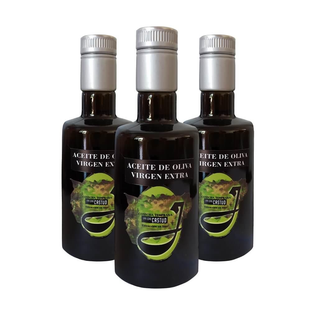 Aceite Oliva Virgen Extra de Cosecha Temprana - Pack de 3x500 ml en cristal negro