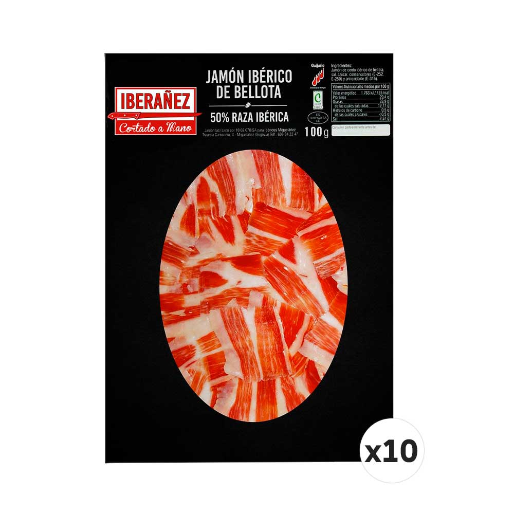 10 sobres x100gr de Jamón de bellota ibérico cortado a mano y envasado al vacío.