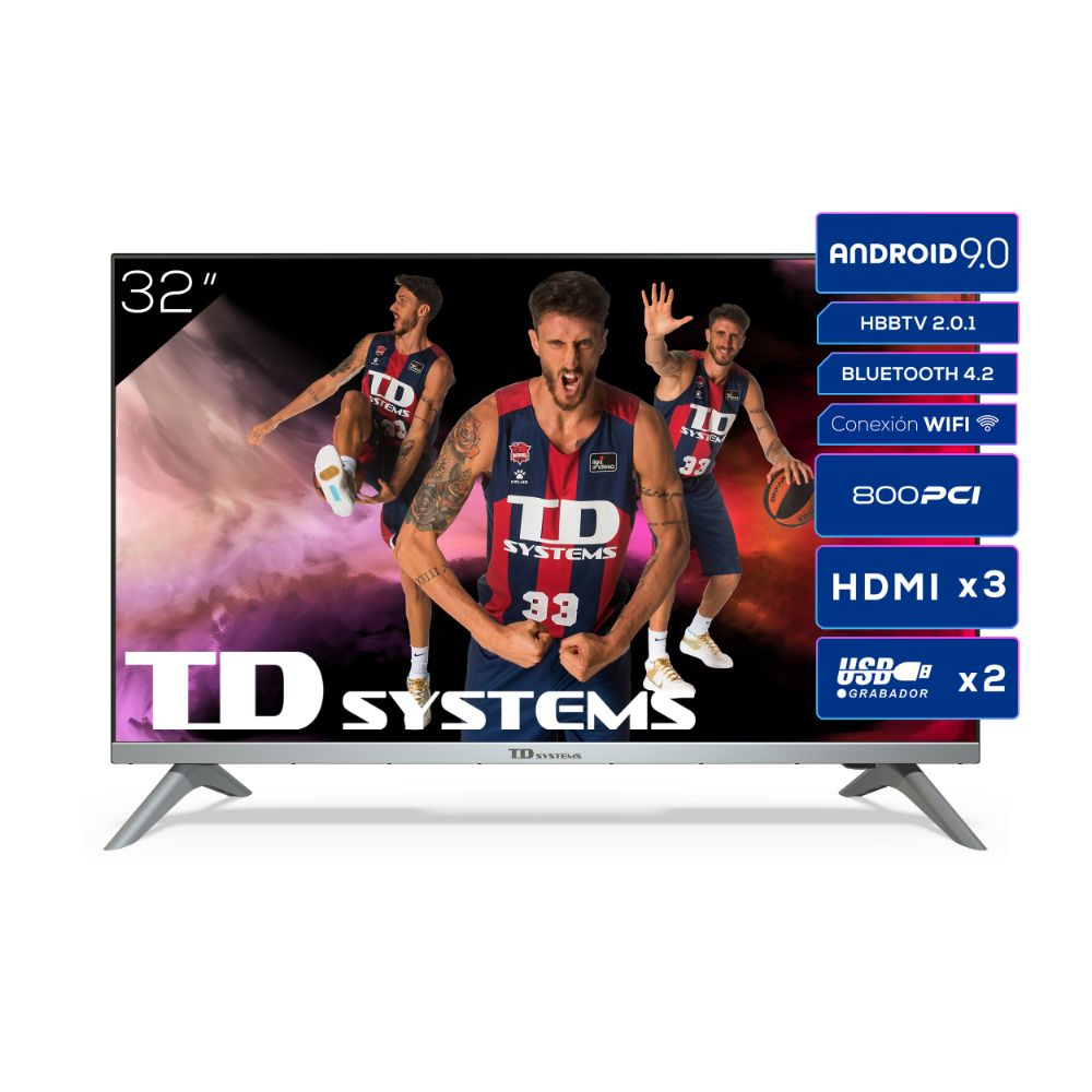 "Smart TV 32"" HD, Android 9.0, HbbTV TD Systems K32DLJ12HS"