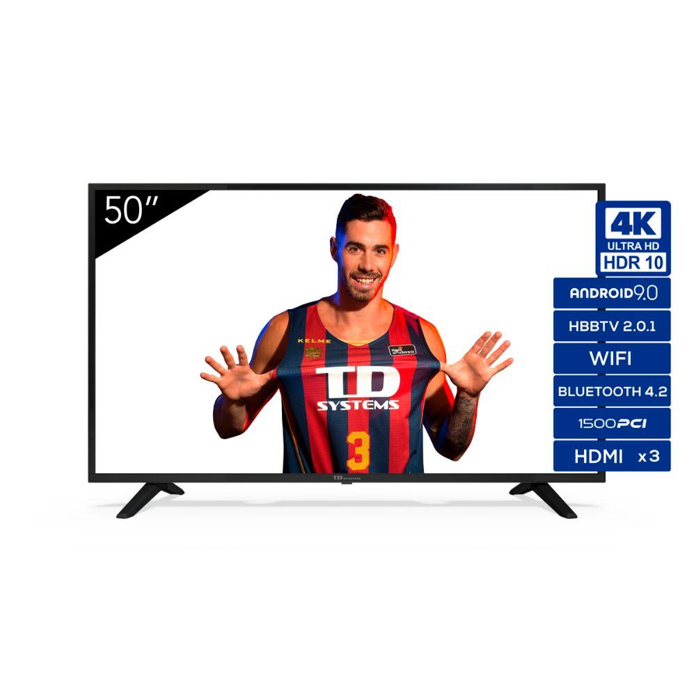 """Smart TV 50"""" 4K UHD, Android 9.0, HbbTV, HDR10 TD Systems K50DLJ11US"""