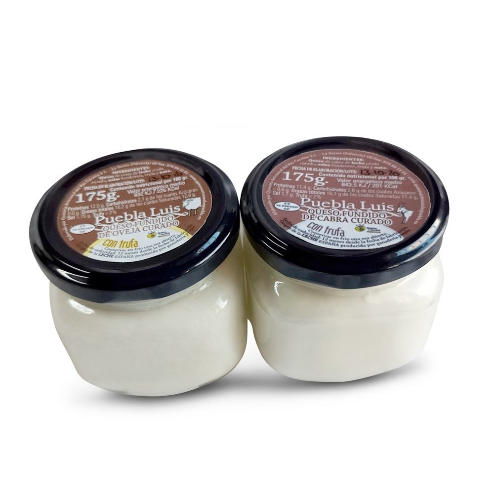 Lote de trufa -1 Crema de Queso de Oveja Curado con Trufa 175 g y 1 Crema de Queso de Cabra Curado con Trufa 175 g