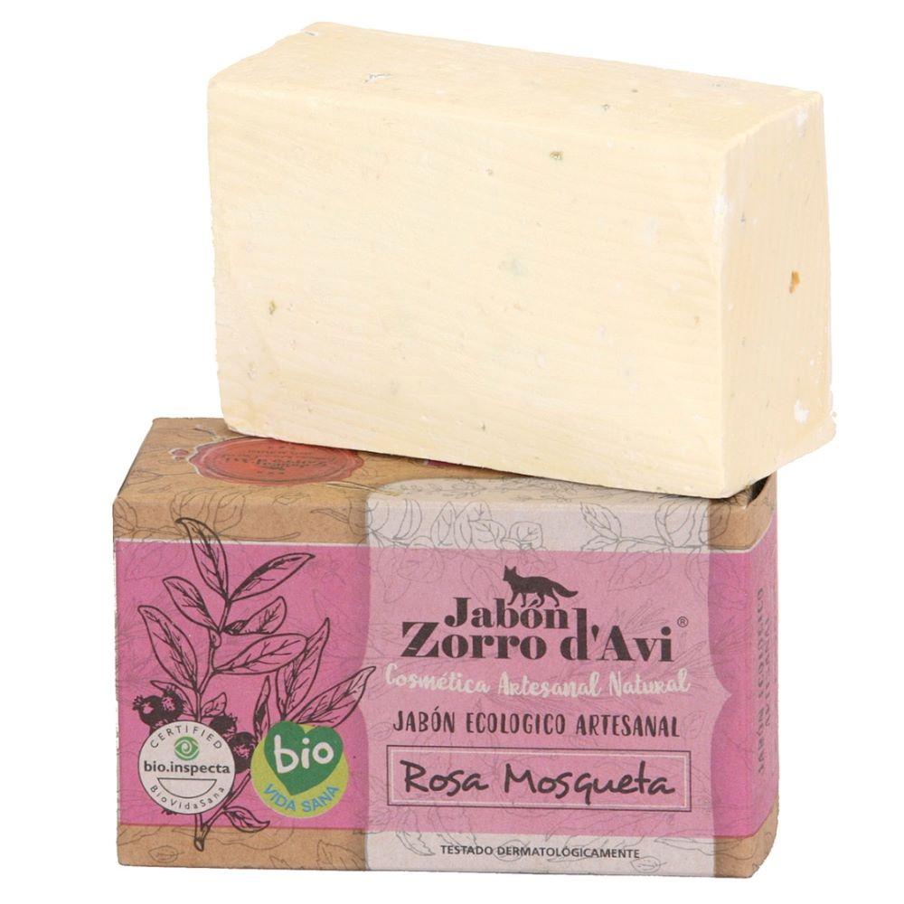 Jabón ecológico de Rosa Mosqueta - Hidratante facial y corporal. Antiestrías, reafirmante y regenerador
