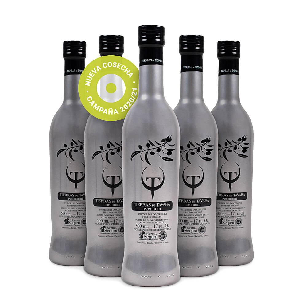 Pack 6 botellas Tierras de Tavara Premium 500 ml.- Aceite de Oliva Virgen Extra de Recolección Temprana