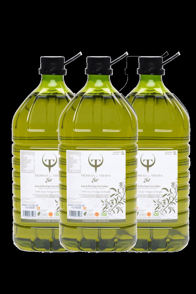 Pack 3 garrafas Tierras de Tavara BIO 5L.- Aceite de Oliva Virgen Extra Ecológico