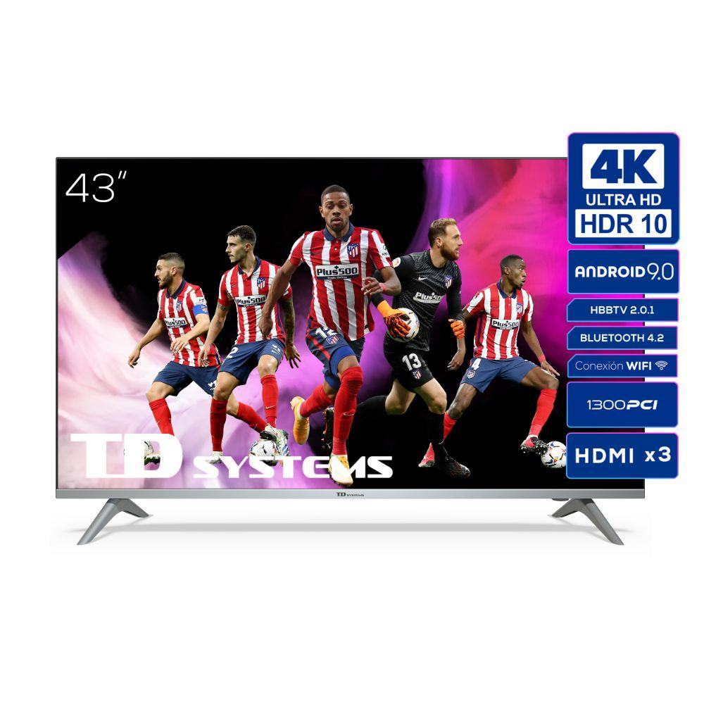 """Smart TV 43"""" 4K UHD, Android 9.0, HbbTV, HDR10 TD Systems K43DLJ12US"""
