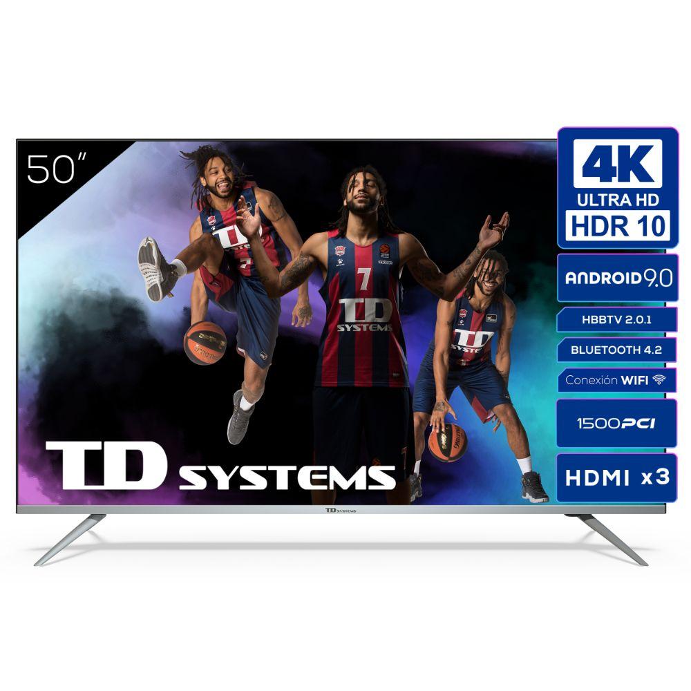 """Smart TV 50"""" 4K UHD, Android 9.0, HbbTV, HDR10 TD Systems K50DLJ12US"""