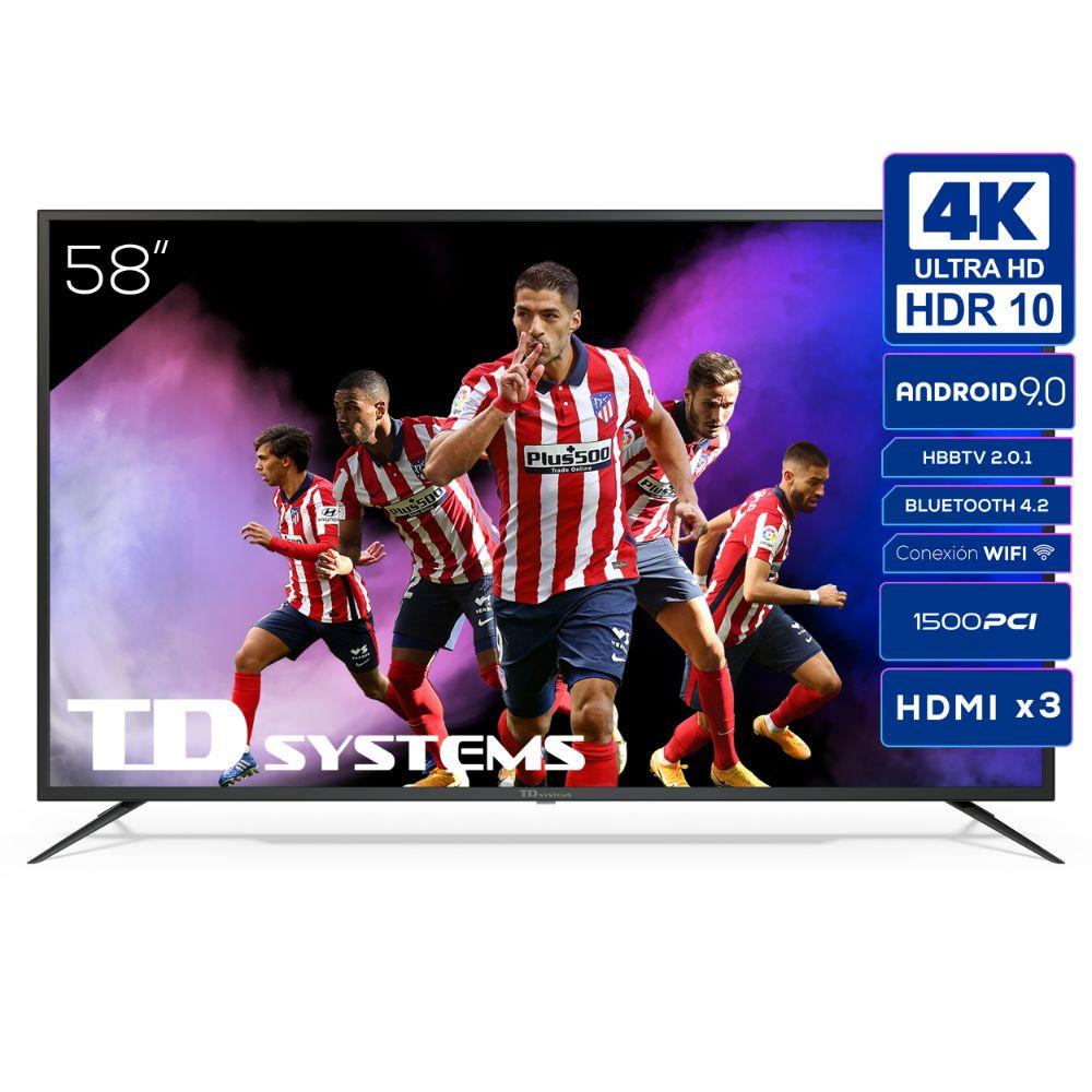 """Smart TV 58"""" 4K UHD, Android 9.0, HbbTV, HDR10 TD Systems K58DLJ12US"""
