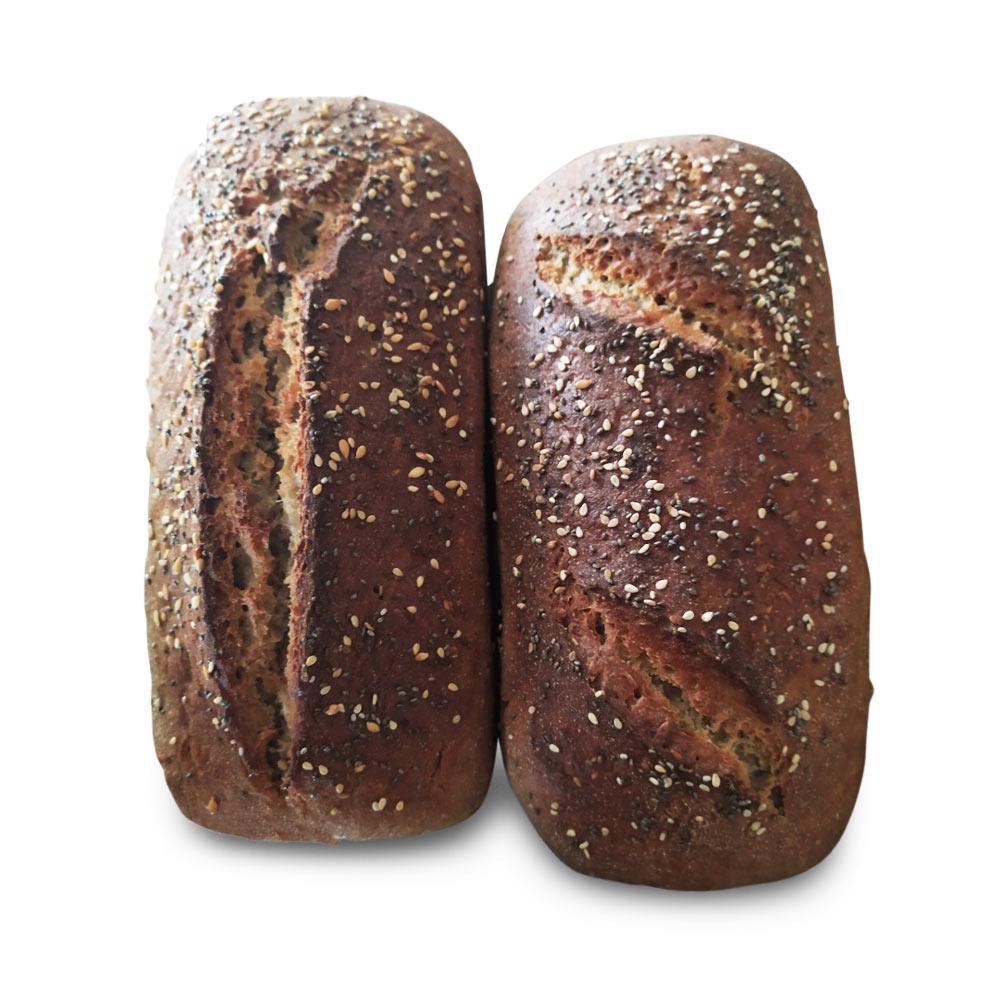 Pan de masa madre activa con harina integral de trigo sarraceno 60% y harina integral de arroz 40% (DOS UNIDADES)