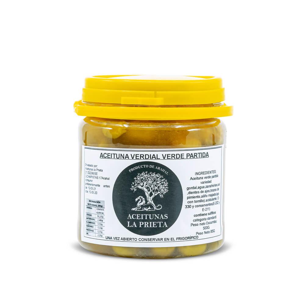 Aceituna Verdial verde partida - 4 tarros 500 g