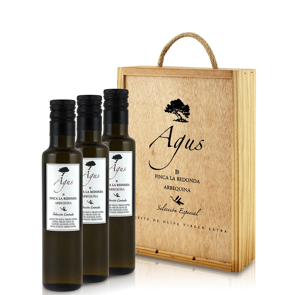 Agus aceite de oliva virgen extra cosecha temprana arbequina en caja regalo 3x250 ml
