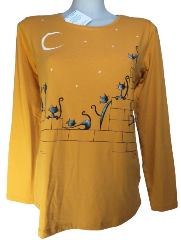 Camiseta gatos mostaza