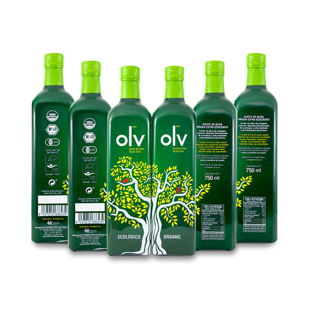 PACK 6 BOTELLAS DE 750ml. ACEITE OLIVA VIRGEN EXTRA ECOLÓGICO