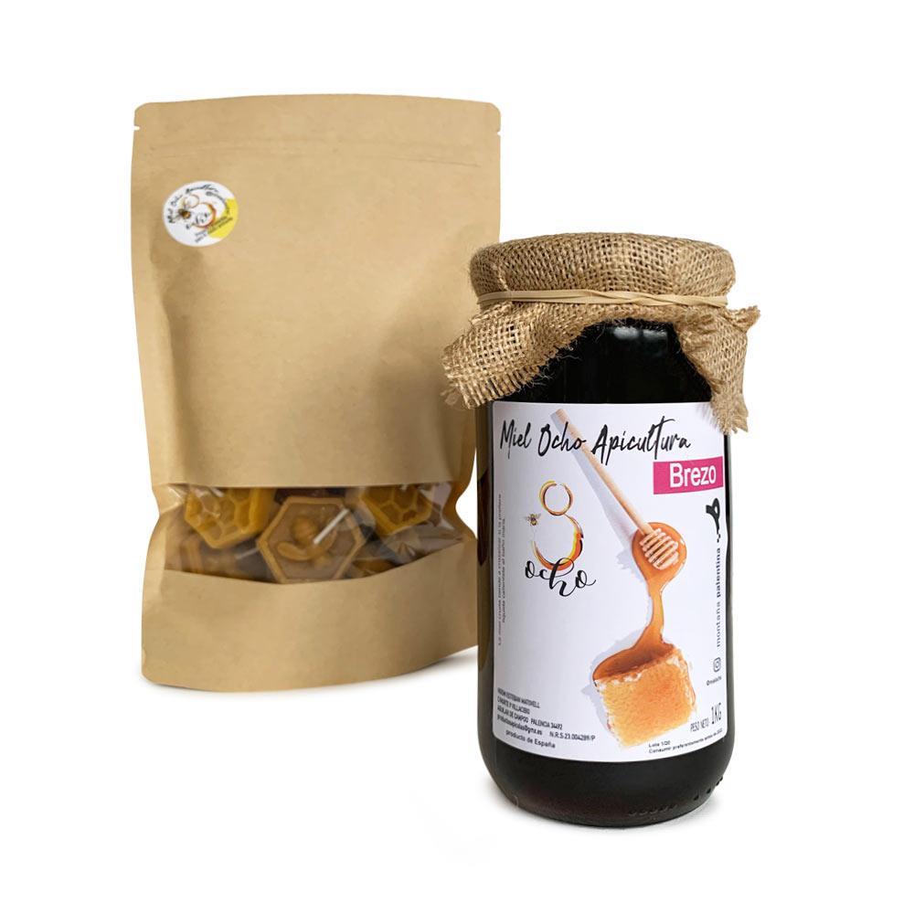 Pack 1 Tarro de Miel de Brezo 1000 g + 12 Velas de Cera Abeja