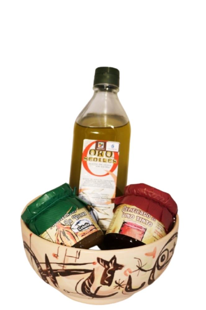 Lote Especial día del Padre: 1 bote de mermelada de cebolla + 1 bote de gelificado de vino + 1 botella de aceite + ensaladera