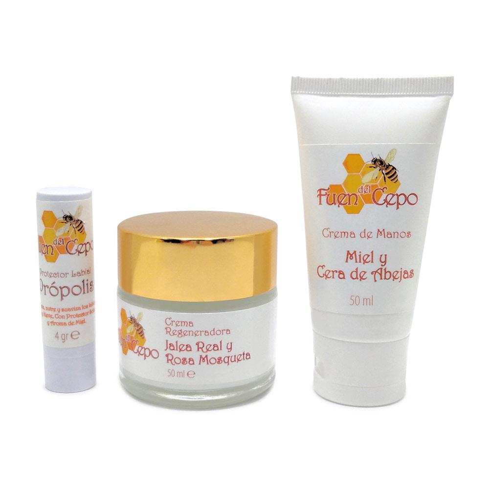 Crema de manos de miel de 50 gr, crema facial de 50 gr y protector labial con propóleo  de 4 gr