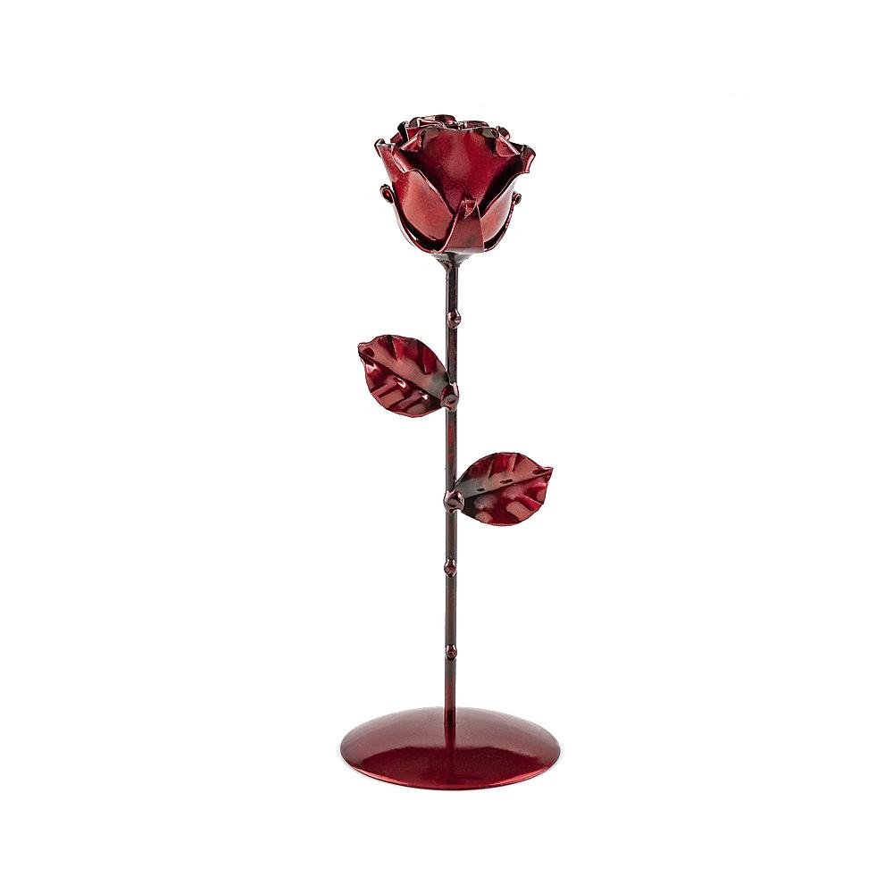 Rosa forjada Roja con Peana