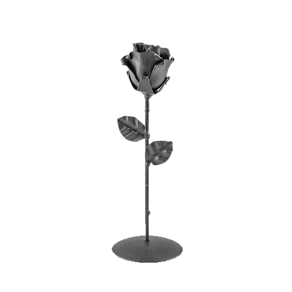 Rosa forjada Negra con Peana