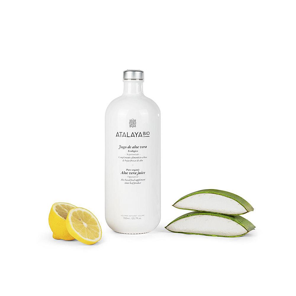 Jugo de aloe vera (98%) y limón. Ecológico. Sin filtrar. Para beber. 700 ml.