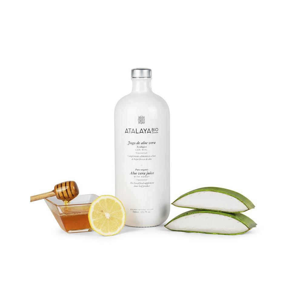 Jugo de aloe vera (96%), miel y limón. Ecológico. Sin filtrar. Para beber. 700 ml
