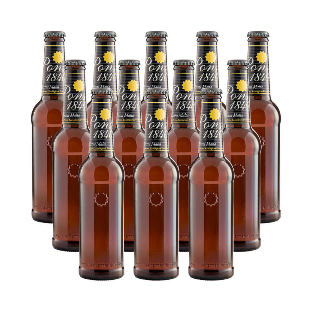 Cerveza rubia ecológica Pons 1840 - 12 botellas 33 cl