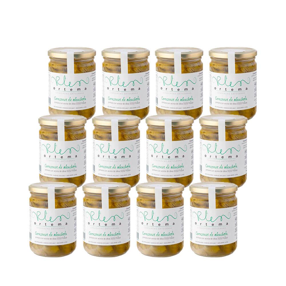 Corazones de alcachofa en aceite 10/12 frutos - Lote 12 tarros 270 g