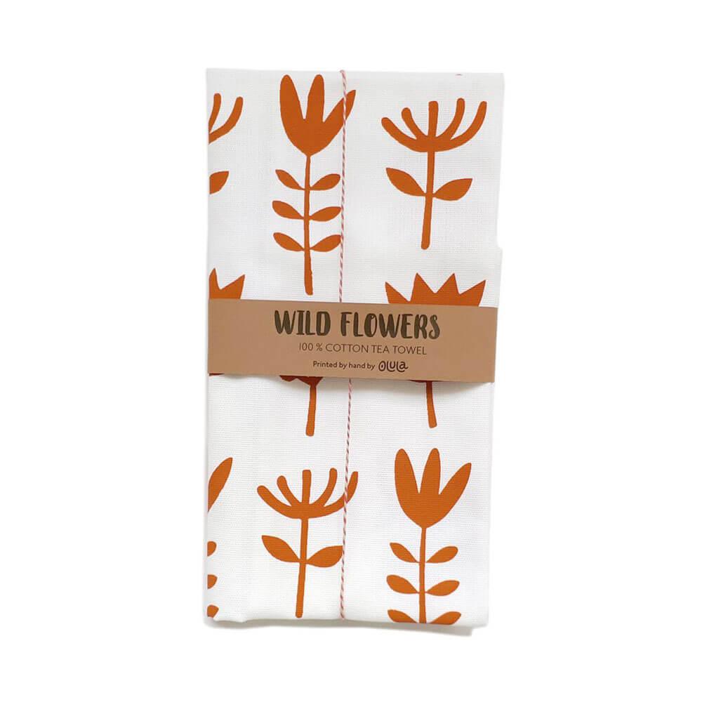 Paño de cocina Wild Flowers - Naranja
