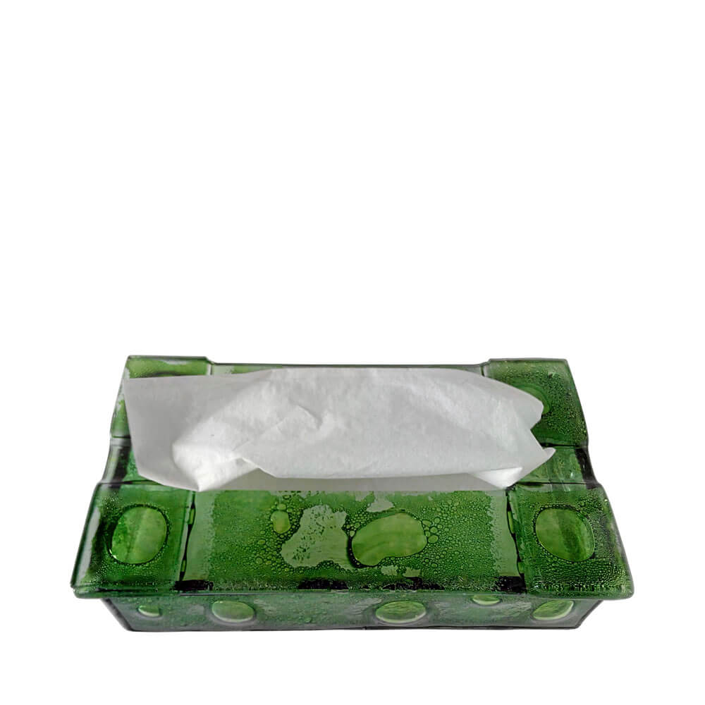 Caja para pañuelos de vidrio fundido