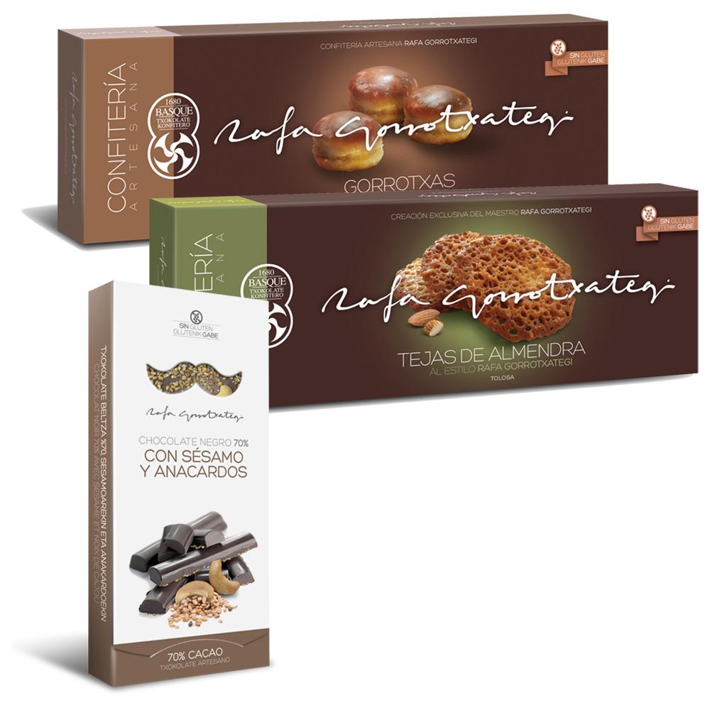 Tejas de almendra, Gorrotxas y chocolate negro 70% con sésamo y anacardos sin gluten