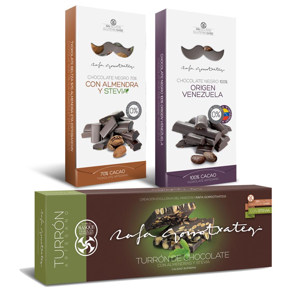 Lote sin gluten apto para diabéticos Chocolate negro 70% con almendras, pipas calabaza y stevia + Turrón de chocolate 70% con almendra marcona + Chocolate Venezuela 100%