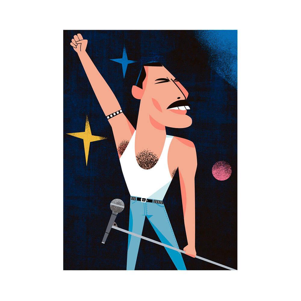 llustración de Freddie Mercury