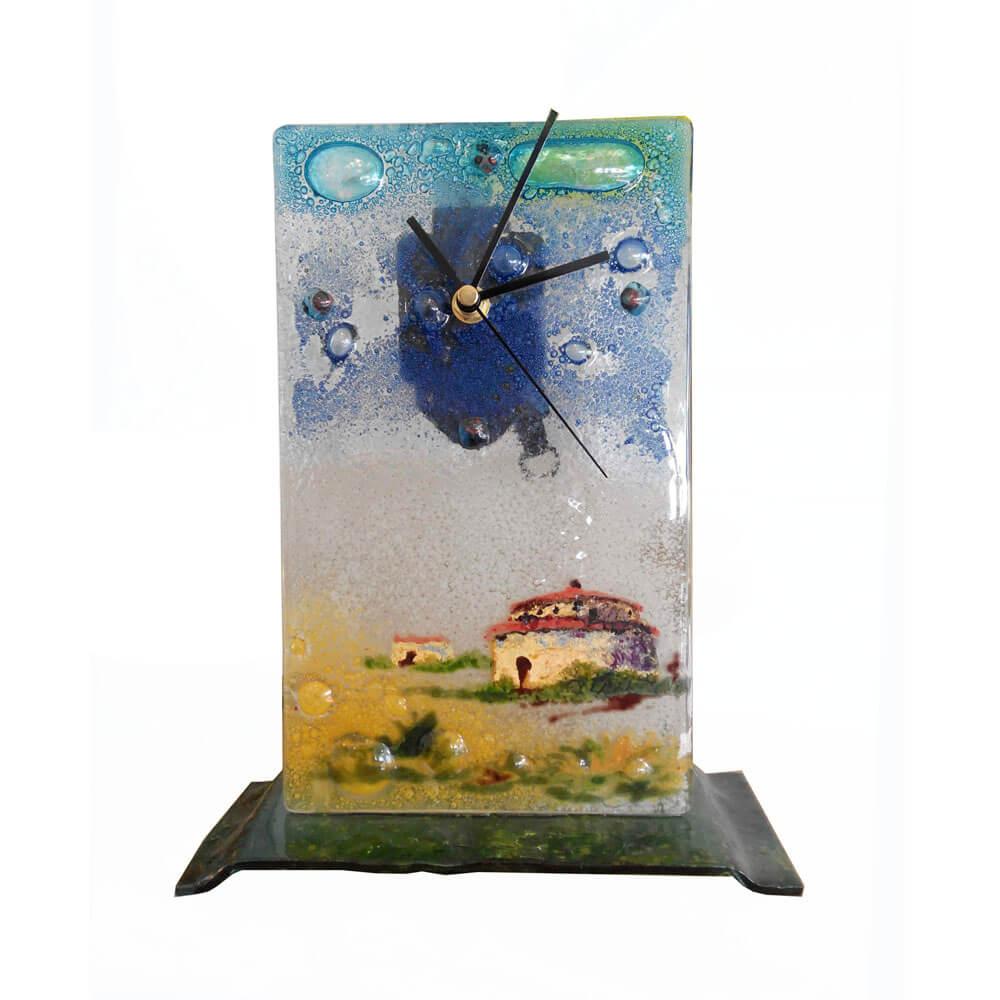Reloj de paisajes de vidrio fundido