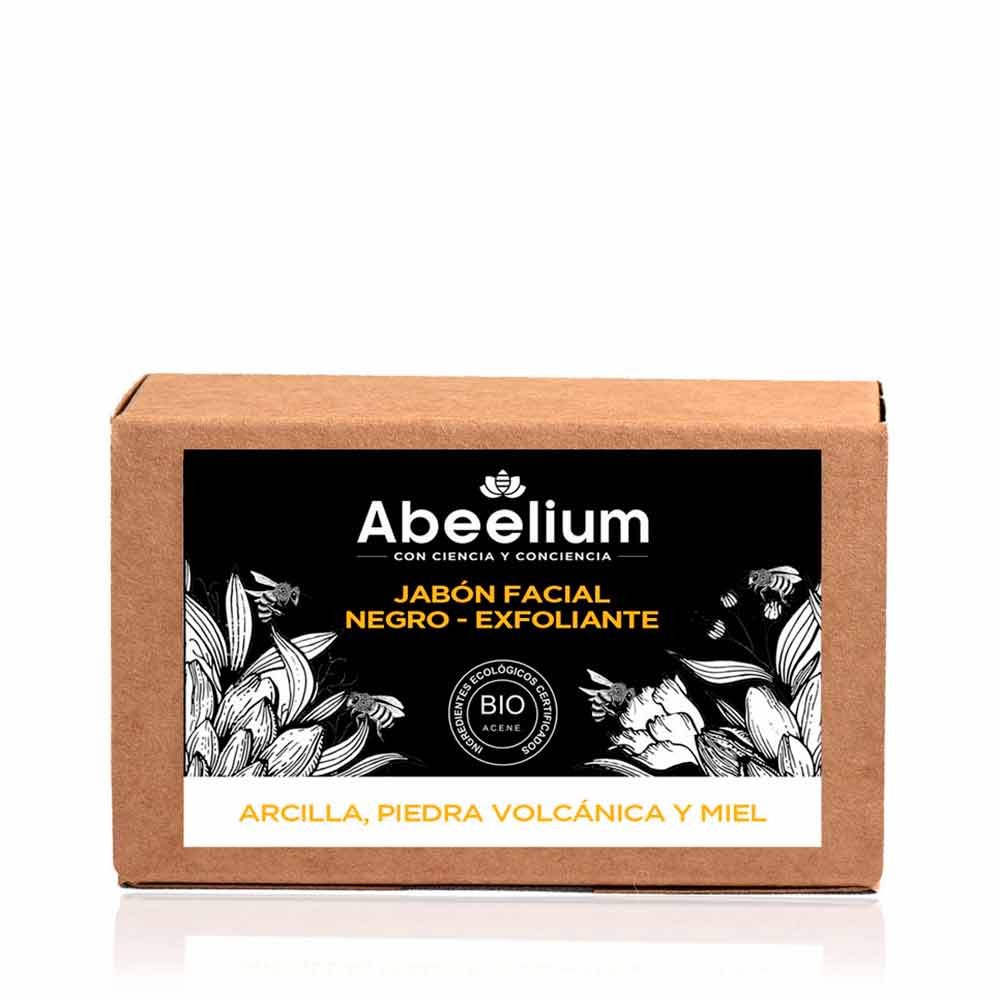 Jabón facial negro detox y exfoliante de arcilla, miel y lava volcánica - 100 g