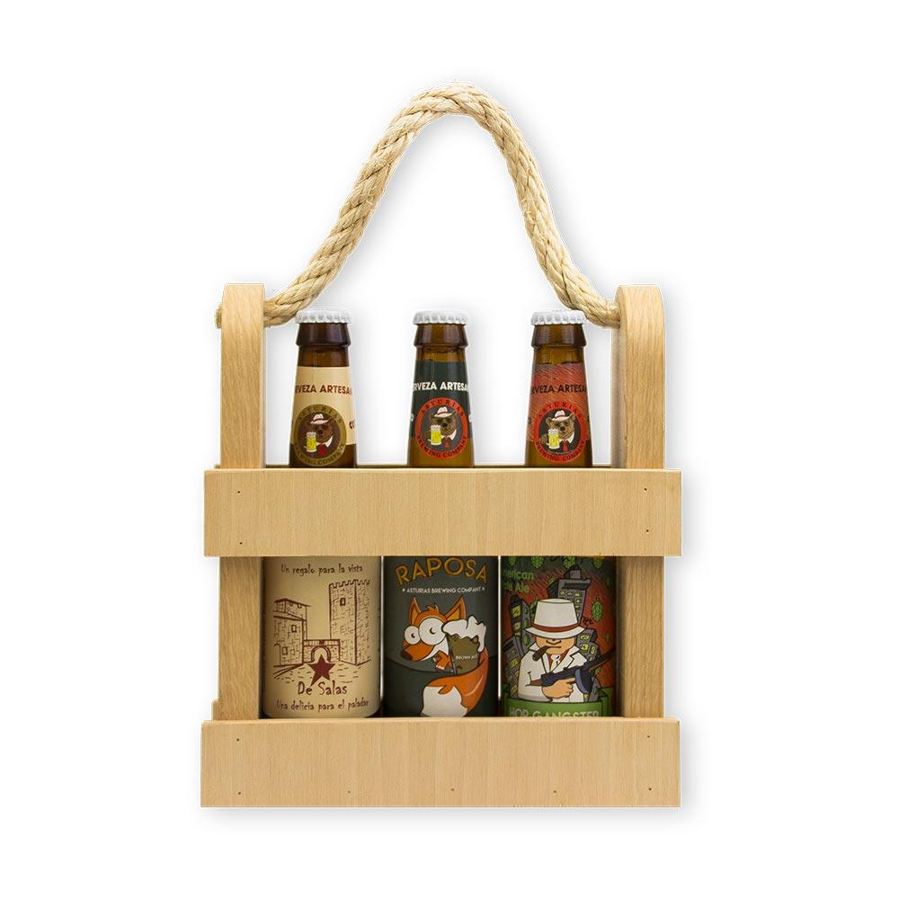 Caja regalo en Madera cervezas variadas - 3x33cl