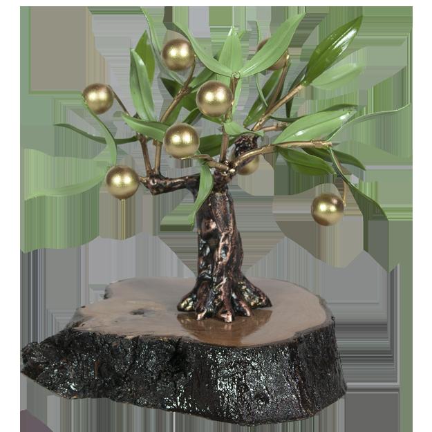 Olivo pequeño aceitunas de hierro doradas