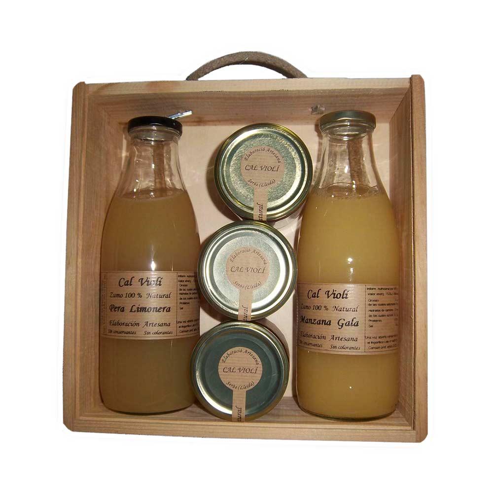 Caja de madera regalo de zumos y mermeladas