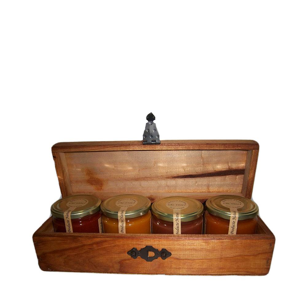Baúl de madera con mermeladas - 4x340 ml