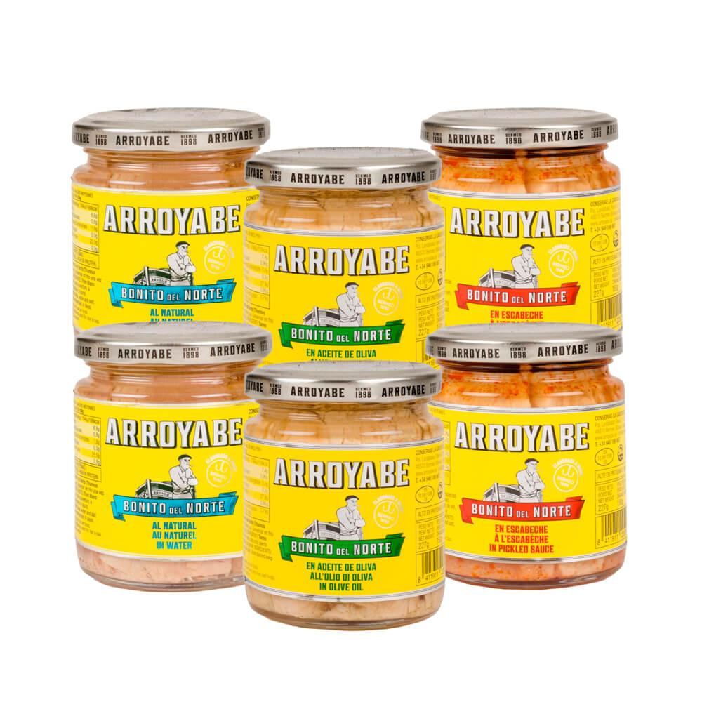 Pack degustación Bonito del Norte 6 tarros - aceite de oliva, escabeche y natural