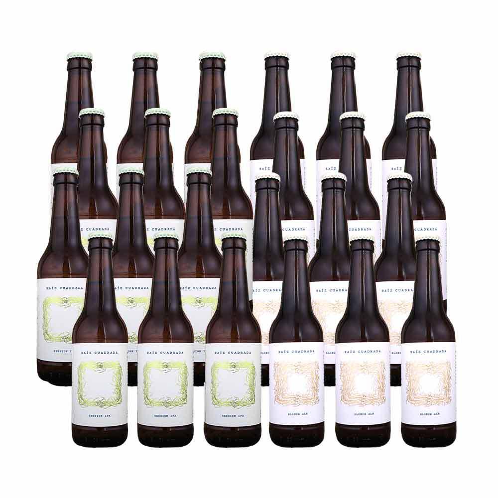 Pack de 24 botellas de 33 cl variado - 12 Blonde Ale + 12 Session IPA