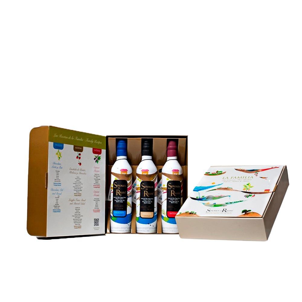 Pack regalo Aceite de Oliva Virgen Extra Gourmet - 3 x 500 ml Sabor suave, medio e intenso