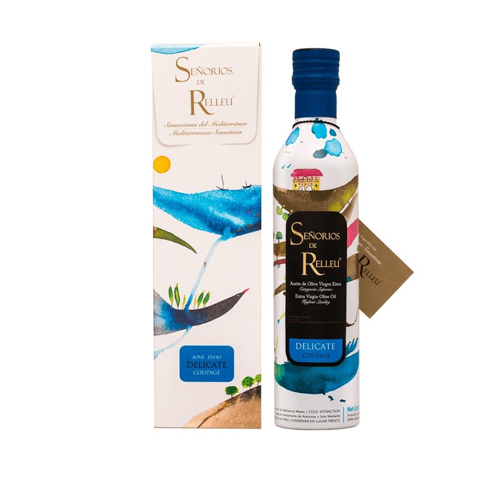 Señoríos de Relleu Original Gift Case Extra Virgin Olive Oil Gourmet Soft Flavor - 500ml Coupage Arbequina