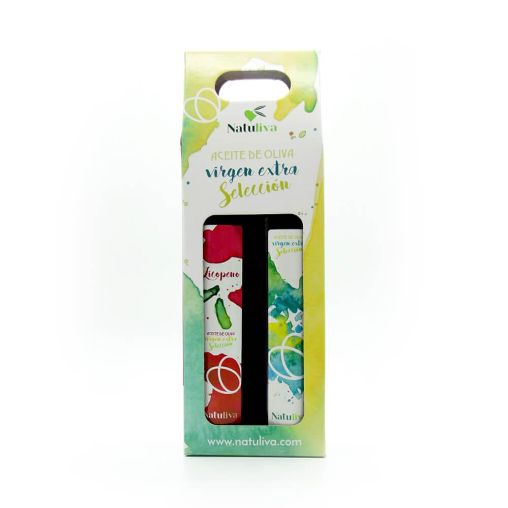 Estuche aceite de oliva virgen extra selección  y virgen extra con licopeno 250 ml