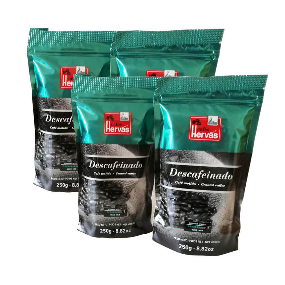 Café tueste natural molido descafeinado 4 paquetes 250 g