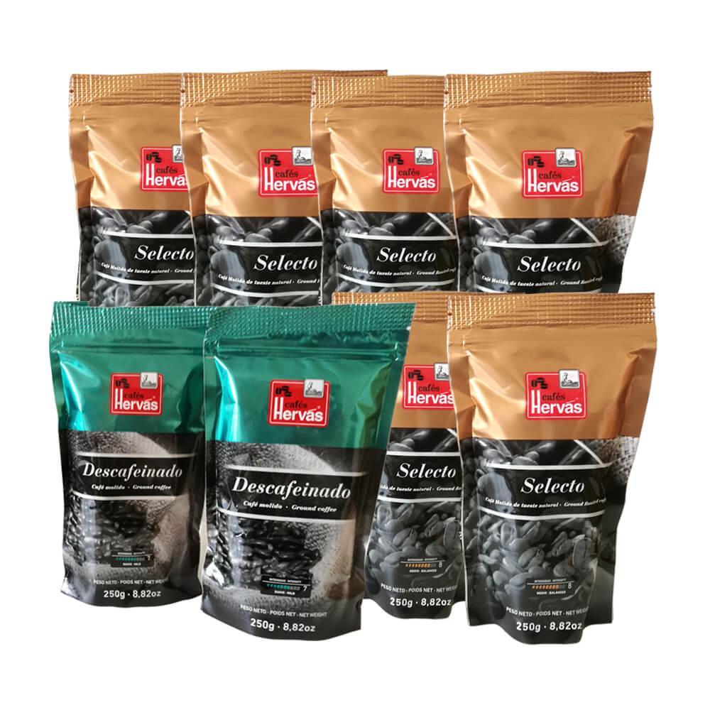 Café tueste natural molido 6 paquetes 250 g y café descafeinado 2 paquetes 250 g