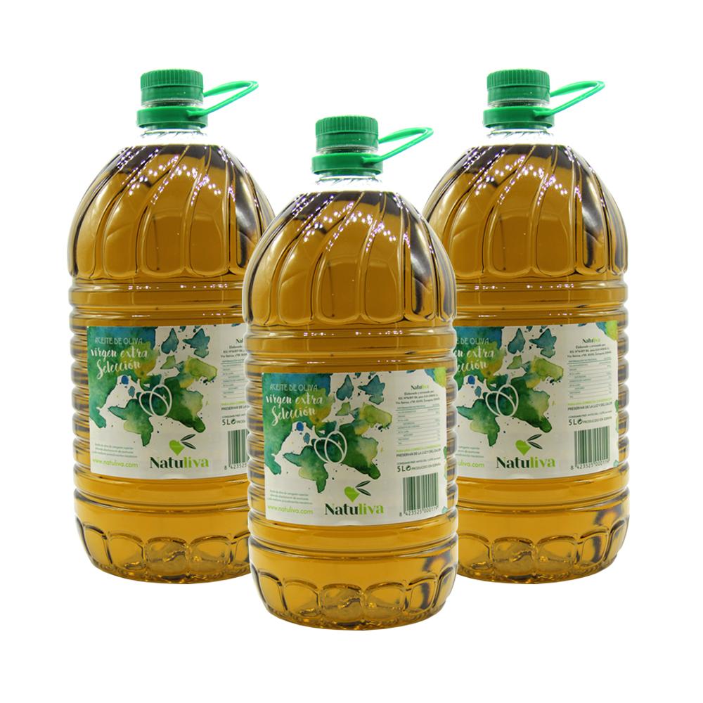 Pack de 3 garrafas aceite de oliva virgen extra selección PET 5 litros.