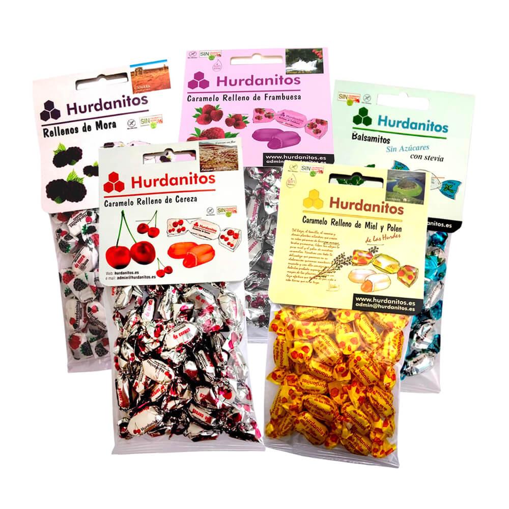 Pack de 5 bolsas de caramelos rellenos Hurdanitos