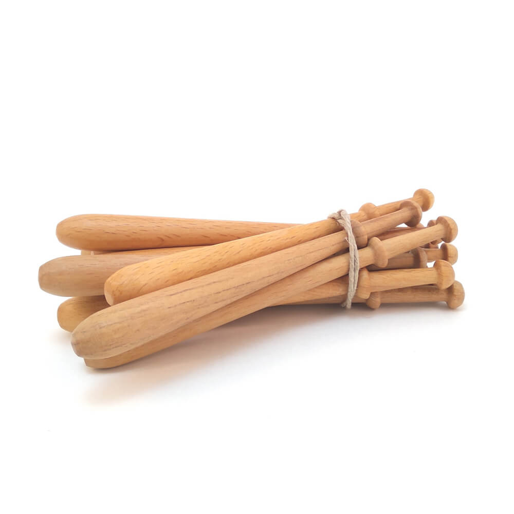 12 Bolillos de madera nº1 barnizados