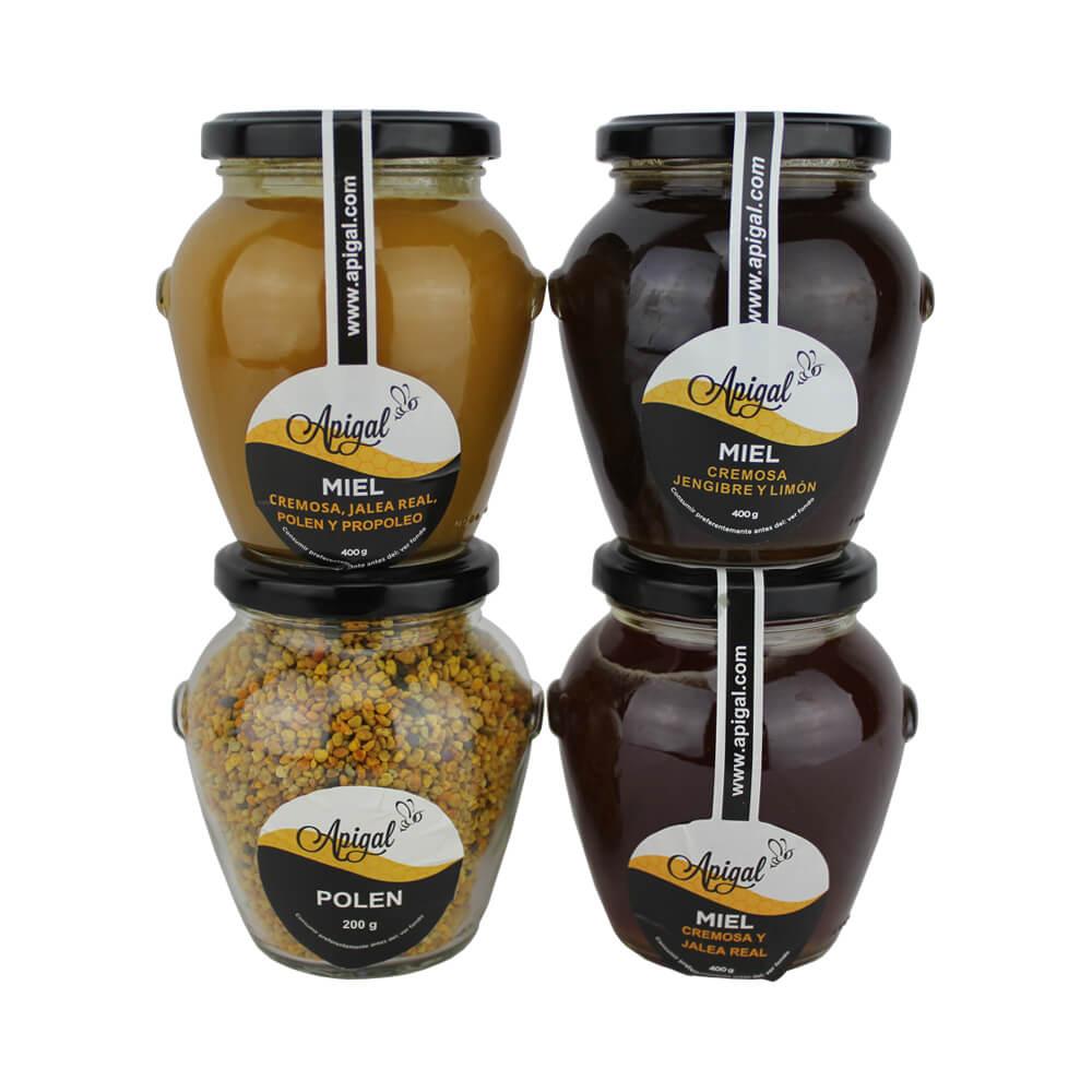 Pack Salud - 3 botes de miel  400 g y 1 bote de polen 200 g